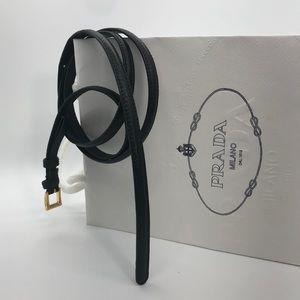 Prada Saffiano Leather Black Simple Belt